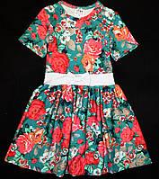 Нарядное трикотажное платье в цветы 98, 104р