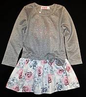 Трикотажное платье туника в цветы 98р