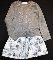 Трикотажное платье туника в цветы 116, 122