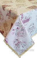 Скатерть Прованс Cups с кружевной тесьмой 120х140 см