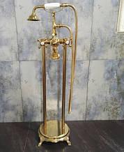 Напольный смеситель с лейкой золото 0213