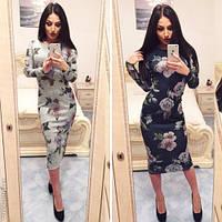 Модное женское платье миди принт цветы / Украина / ангора