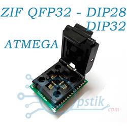 Переходник - Адаптер ZIF QFP32/TQFP32/FQFP32/PQFP32 в DIP28 для ATMEL AVR для программирования
