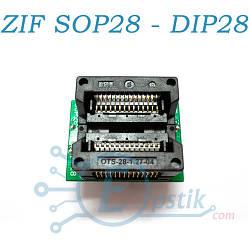 Переходник - Адаптер ZIF с нулевым усилием SOIC28 (SOP28) - DIP28 для программирования