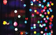 Разноцветная Гирлянда Шарики Штора - штора на черном проводе 3 x 1.8м мультиколор, занавес Плей Лайт