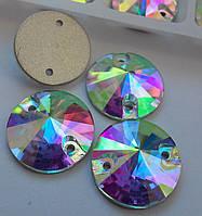Стразы пришивные Копия Сваровски, Риволи (круг) d10 мм Crystal AB, стекло