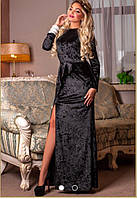 Длинное бархатное платье с боковым разрезом низ