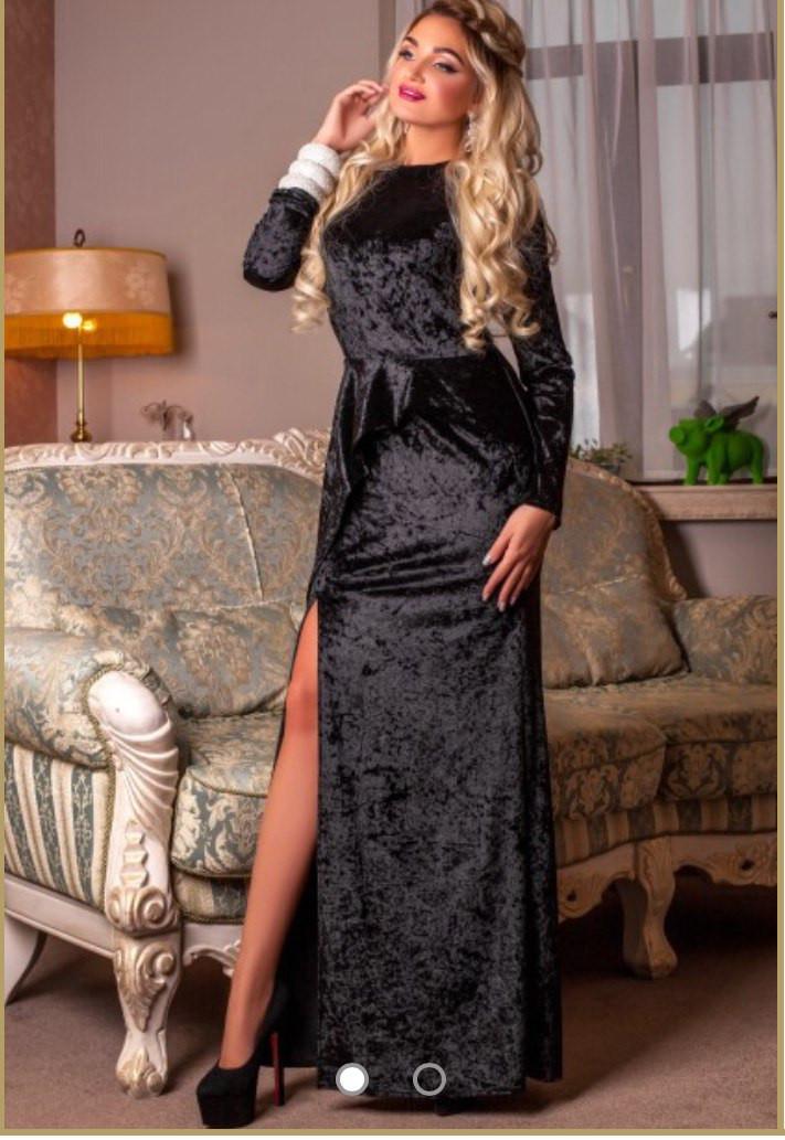 259f7791a413dc8 Длинное бархатное платье с боковым разрезом низ, цена 830 грн., купить  Харків — Prom.ua (ID#441601615)