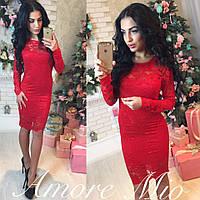 Ярко-красное гипюровое платье (арт. 441601865)