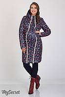 Зимнее двухстороннее пальто для беременных Юла Мама Kristin (принт+синий)