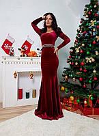Вечернее платье в пол с украшением и длинными рукавами