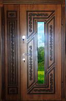Входная дверь двух створчатая модель П5-ГЕОМЕТРИЯ vinoriy-90 с патиной и стеклом