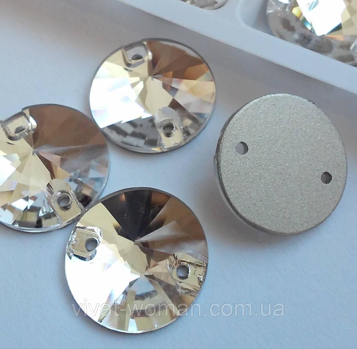 Стрази пришивні Копія Сваровскі, Ріволі (коло) d 20 мм Crystal, скло