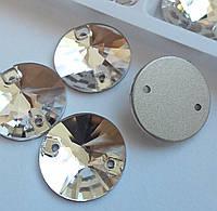 Стрази пришивні Копія Сваровскі, Ріволі (коло) d 20 мм Crystal, скло, фото 1