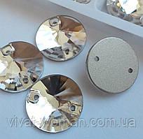 Стрази пришивні Копія Сваровскі, Ріволі (коло) d 14 мм Crystal, скло