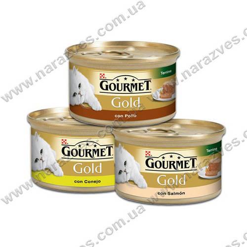 Консервы Purina Gourmet Gold кусочки в подливе с лососем и цыпленком 85г