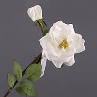 """Искусственные цветы 50 см. """"Роза раскрытая белая"""""""