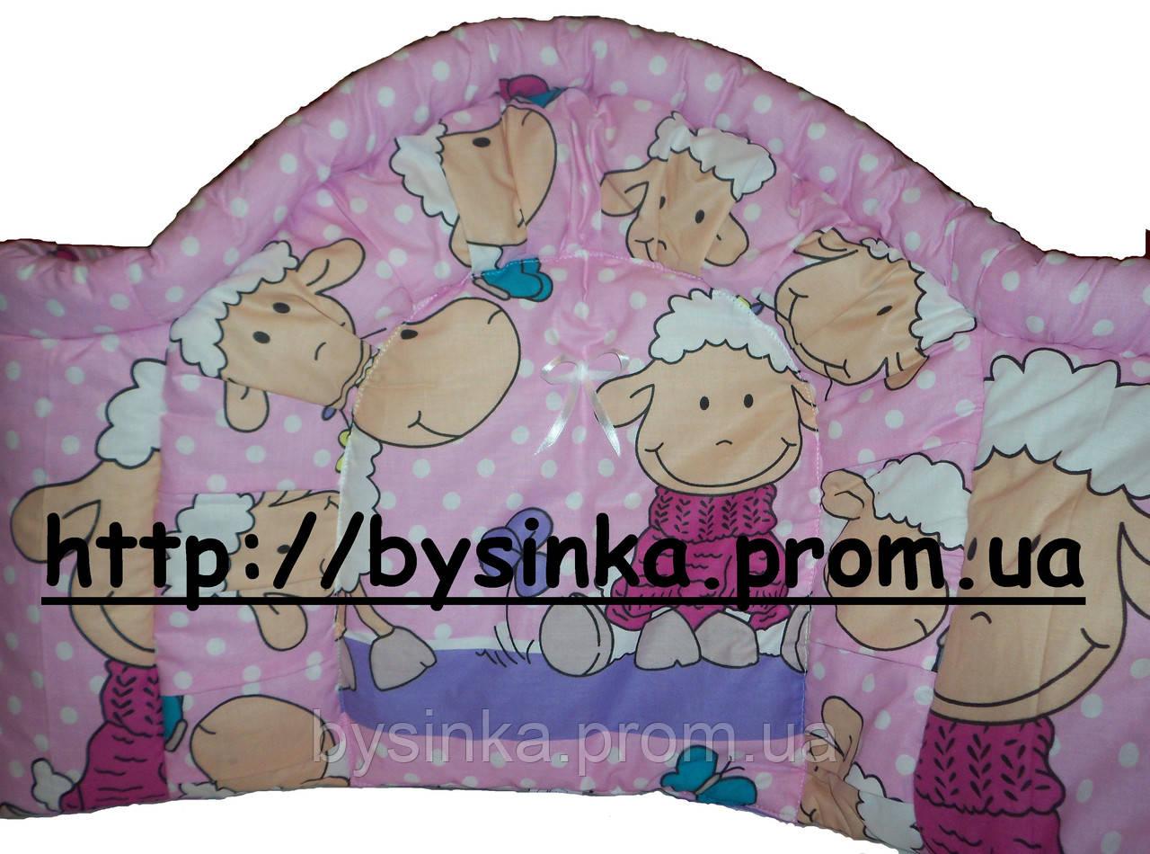 Защита высокая, цельная в кроватку новорожденного- Барашек