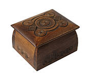 Шкатулка сувенірна дерев'яна ручної роботи 11,5*10*6,5см, фото 1