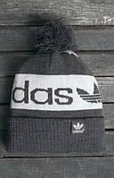 Зимняя мужская шапка адидас очень теплая с бубоном