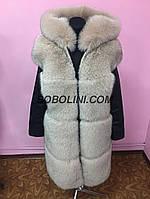 Жилет куртка -трансформер с капюшоном из меха финского песца, рукава итальянская кожа