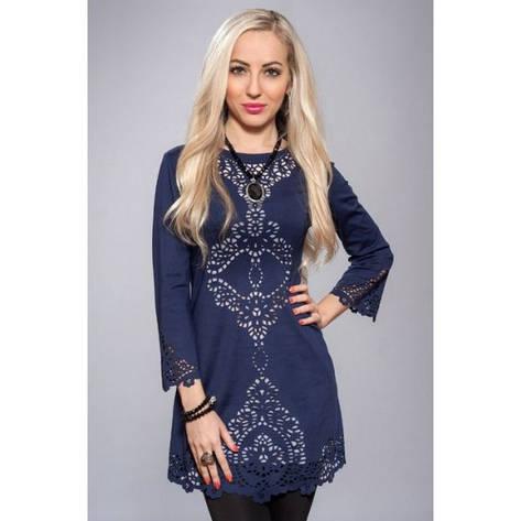 Платье туника с перфорацией темно-синий, фото 2