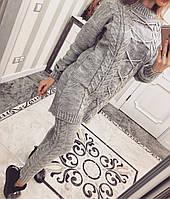 Теплый вязаный женский костюм п-3110419