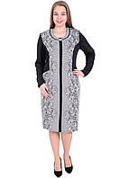 Платье женское черное с кружевным принтом 54-60