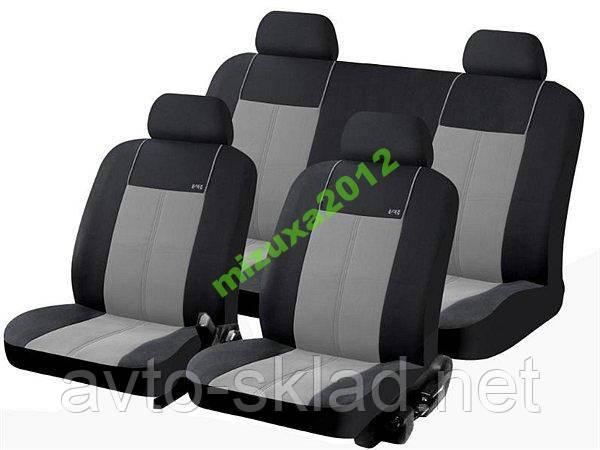 Чехлы универсальные черные с серым на 4 сиденья
