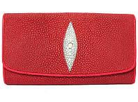 Женский кошелек из натуральной кожи ската, цвет красный