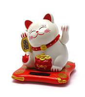 Кошка Манэки-нэко на солнечной батарее машет лапой 8х7,5х7см пластик (28754)