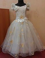 Необычное бело-золотое детское платье на 6-8 лет