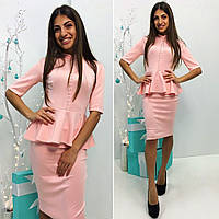Элегантное женское платье  с декором на груди, цвет персик