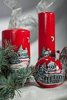 Свеча цилиндр новогодняя зимняя панорама 60х115мм. 1шт. Цвет красный