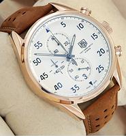 Часы мужские наручные Tag Heuer Carrera 1887 SpaceX Quartz Gold/White 2136 AAA copy SK