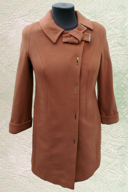 Женское демисезонное пальто Almatti модель D-227 темно-бежевое
