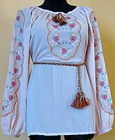 """Вишиванка жіноча """"Решельє"""", вишита блуза жіноча на білому шифоні червоними нитками, біла, машинна вишивка"""