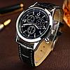 """Мужские классические наручные часы """"Yazole blue ray"""" черные, годинник чоловічий класичний Yazole кварцевий - Фото"""