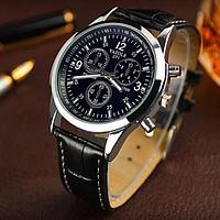 """Мужские классические наручные часы """"Yazole blue ray"""" черные"""