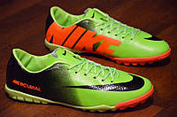 Сороконожки футзалки бампы кроссовки футбол Mercurial зеленые с черным  задником производитель Вьетнам