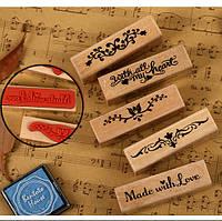 Штамп резиновый (дерево-резина) Made With Love Сделано с любовью,1 шт.
