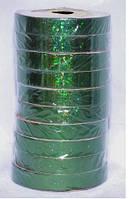 Подарочная лента голографическая зеленая 765-12