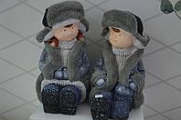 Дети керамические с меховой отделкой сидя 40 см