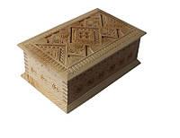 Шкатулка сувенірна дерев'яна ручної роботи 21*14*9 см, фото 1