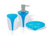 Trento Arte Blue Набор дозатор + стакан + мыльница бело-голубой