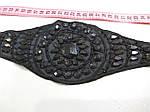 Пояс черный пришивной из  атласа с вышивкой и пришивными стразами , готовое украшение , фото 6