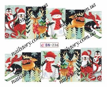 Новогодние наклейки для ногтей BN236