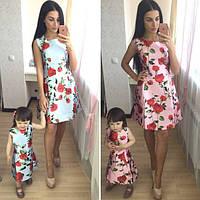 Платье для взрослой и маленькой принцессы с цветочным принтом