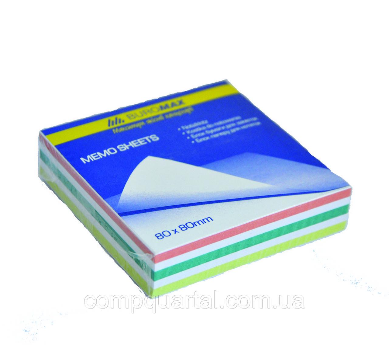 """Папір для нотаток кольоровий BUROMAX JOBMAX 2254 """"ЗЕБРА"""" 80Х80Х20 мм 220-250арк. склеєний"""