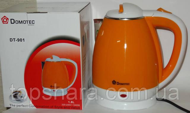 Электрочайник нержавейка-пластик Domotec DT-901 2.0л оранжевый
